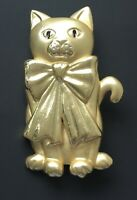 Vintage  large Cat with bow  brooch pin in gold tone metal
