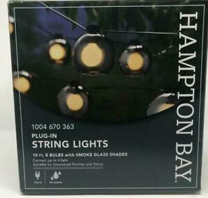 FOUR New Box In/Outdoor 10'  String Lights w 32 Smoky Glass Shade Patio Garden