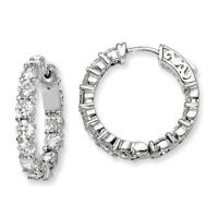 Sterling Silver Rhodium Plated CZ In and Out Hinged Hoop Earrings 3mm x 21mm