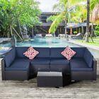 7pc Pe Rattan Wicker Sectional Cushioned Sofa W/table Patio Garden Furniture Set