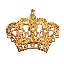 Gold Imperial Crown Royal King Queen Cute Gifts Jeans Jacket Shirt Iron on Patch