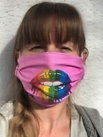 HLP Wende-Behelfsmaske Community Maske - Rainbow Lips pink - organic fairwear!