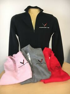 Ladies** Corvette C8 1/4 Zip Sweatshirt Buds Chevrolet
