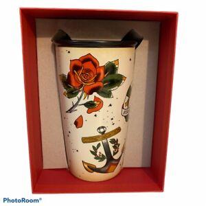 Starbucks 2015 Mermaid Siren Tattoo Travel Mug Ceramic Tumbler Cup 12 oz RARE