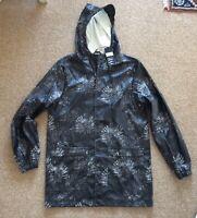 D-Struct Black Floral Pattern Peak Hooded Rain Waterproof Jacket Medium BNWT