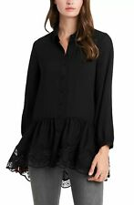 Vince Camuto Womens Top Black Size Medium M Peplum Lace Button Up $119 224