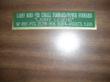 LARRY BIRD CAREER NAMEPLATE FOR SIGNED BALL CASE/JERSEY CASE/PHOTO