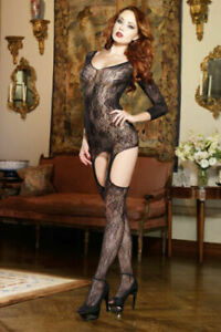 LACE 3/4 SLEEVE GARTER DRESS BODYSTOCKING WITH CRISS CROSS BACK DETAIL OS & QN