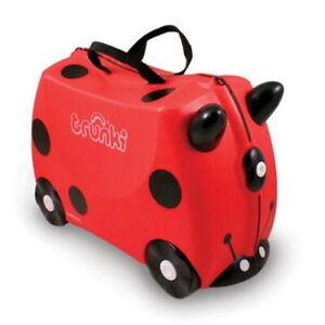 * NEW TRUNKI Ride On Suitcase HARLEY LADYBUG Kid's Luggage + BONUS STICKER PACK