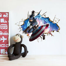 3D crack The Avengers Captain America kids room decor Wall sticker wall Decals+