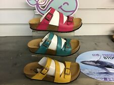 PLAKTON SEVILLE MID LEATHER SANDALS NEW CUSHIONED FOOTBED WALKING LADIES WOMENS
