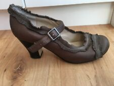 Ladies Brown Leather WITTNER Heels AUS Size 6 EU 37 Mary Jane Medium Fringed