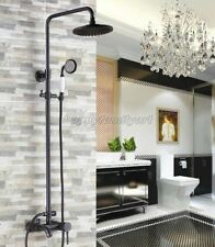 Black Oil Rubbed Brass wall Mount Bathroom Rain Shower Faucet Set tub Tap Yrs322