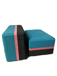 Teal Green/pink/black yoga foam blocks Set Of 2