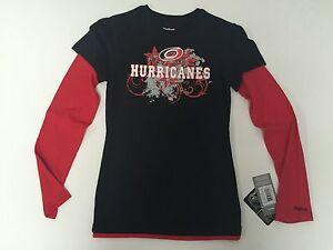 Carolina  Hurricanes Girls Youth Long Sleeve Official Reebok NHL Shirt