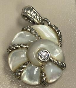 Judith Ripka Seashell Mother of Pearl Pendant Enhancer 925 Sterling Silver