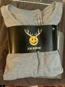Mens 2 Piece Long Sleeve Shirt  Plaid REINDEER Fleece Pants Sleepwear JO BOXER