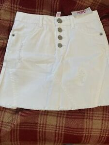Justice Girl's White Denim Skirt with Built In Shorts Size 8 Justice Girls NWT