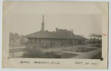 1910 Railroad Depot Wabasha Minnesota Candid Real Photo Postcard RPPC