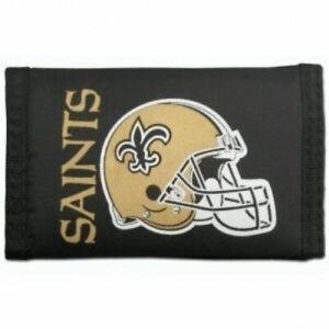 Rico Industries Men's NFL New Orleans Saints Nylon Trifold Wallet in Black