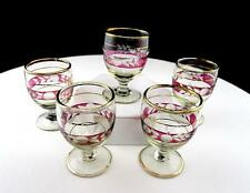 "BOHEMIAN CZECH RUBY FLASH LEAF ETCH 5 PIECE GOLD TRIM 2 3/8"" FOOTED CORDIALS"