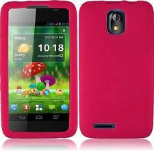 Cricket ZTE Engage LT N8000 SILICONE Soft Rubber Gel Skin Phone Case Hot Pink