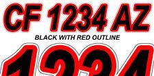 Black & Red Custom Boat Registration Numbers Decals Vinyl Lettering Stickers