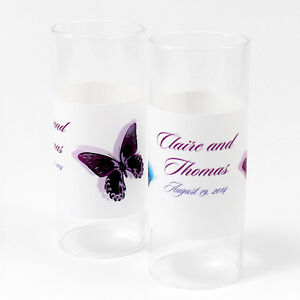 48 Pretty Butterfly Personalized Mini Tealight Luminaries Candle Wedding Favors
