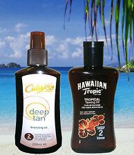 HAWAIIAN TROPIC SPF 2 TAN OIL & CALYPSO BRONZING OIL SPF2 TANNING LOTION SUN OIL