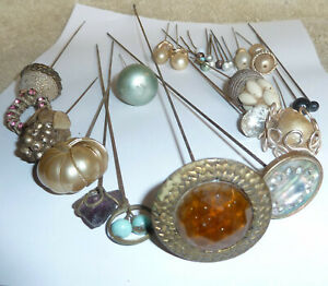Job Lot 27 Antique / Vintage Hat Pins Various Lengths From 6cm-30cm