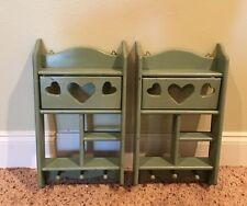 Vintage a pair of shadowbox display shelf shelves with 3 pegs at the bottom.