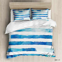 Blue White Stripes 3D Quilt Duvet Doona Cover Set Single Double Queen King Print