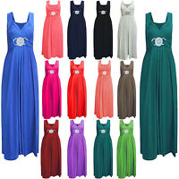 New Ladies Womens Long Party PROM Bridesmaid Dress TOP Gown Buckle MAXI Cocktail