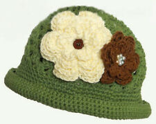 Crochet Hat with Flowers (Green) - Small