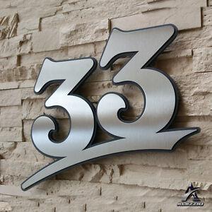 Edelstahl Hausnummer 33,17cm 21cm 31cm,123456789,a,b,c,d Acrylglas Anthrazitgrau