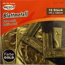 Blattmetall gold 10 Stück 140 x 140 mm Schlagmetall von Meyco (0,31€/Stk)