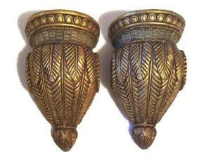 """Pair Drapery Wall Corbels Curtain Rod Swag Holders Gold Shimmer Sconces 9"""""""