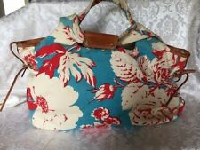 Kate Spade teal, red and cream fabric handbag w/ leather trim