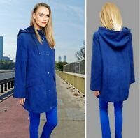 BM WOMENS COAT PARKA SIZE 10-12 BLUE HOODED VERY SOFT FABRIC ZIP UP LINING #38