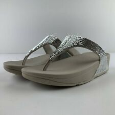 NEW Fitflop Electra Women US 9 Silver Microfibre Sandal Thong Toe Post Casual