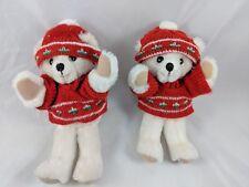 "Russ Bear 7"" Plush Sweater Knit Cap 1390 Lot of 2 Stuffed Animal Toy"
