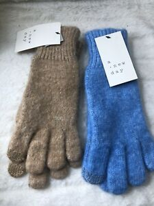 2- New A New Day Women's Essential Gloves Set Blue/ Brown. One Size