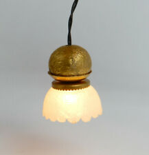 Vintage Antique Electric Ruffle Shade Hanging Lamp Dollhouse Miniature 1:12