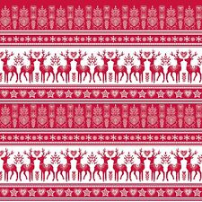Christmas Fabric - Nordic Forest Red & White Deer Stripe - Blank YARD