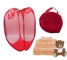 Folding Storage Hamper Red Washing Basket Pop-Up Laundry Net Children Toy Bag