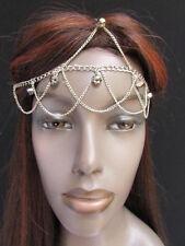 New women silver metal body head chain hair beads waves frontal forehead fashion