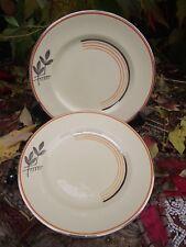 Vtg Art Deco Johnson Bros Tea Plates Honey Glaze Orange + Silver Victorian Ptn