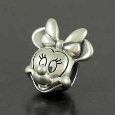 Genuine 925 sterling silver Disney cartoon Minnie mouse head Charm