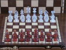 Brand New Hand Crafted  Wooden Chess Set Unique Pieces.