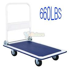 660lbs Platform Cart Foldable Warehouse Moving Push Hand Flatbed Truck Trailer